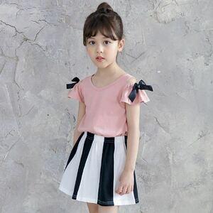 100 Bee オフショルダートップス ピンク 肩リボン 子ども服 韓国