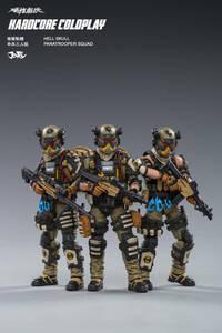 (3 ピース/セット) joytoy 1/18 アクションフィギュア地獄スカル落下傘兵分隊軍事兵士フィギュアモデル