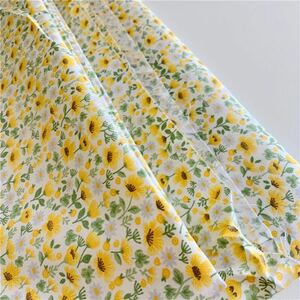 1M コットン生地 布 綿100% ツイル ひまわり小花柄