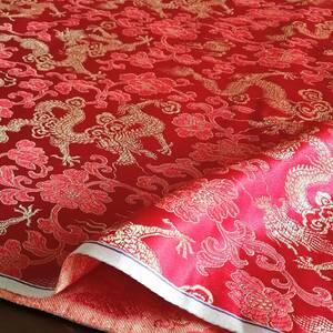 金襴 生地 布 72cm巾×約2m / 赤 金 光沢 / 龍 牡丹 花 和柄 / チャイナ生地