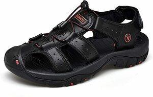 B-ブラック 28.5 cm [Dannto] スポーツサンダル アウトドアサンダル 革製 通気 耐久性 歩きやすい 防滑 防臭