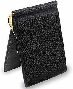 ブラック S PEYNE マネークリップ 小銭入れ付き メンズ 財布 - カード 大容量 本革 二つ折り 小銭入れ 薄い財布,