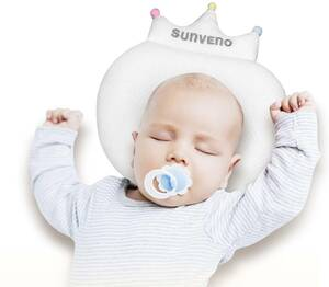#B2 SUNVENOベビー&幼児用枕、通気性のある生地とポリマー製の中空コアを備えたクラウン型の枕、0~1歳の赤ちゃんに適しています(白)
