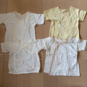 送料無料 短肌着 4着セット 50-60cm 新生児肌着 男女兼用 ベビー肌着 出産準備 送料込み
