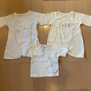送料無料 コンビ肌着と短肌着 3着セット 50-60cm 新生児肌着 コンビ プーさん 赤ちゃんの城 ベビー肌着 出産準備 送料込み