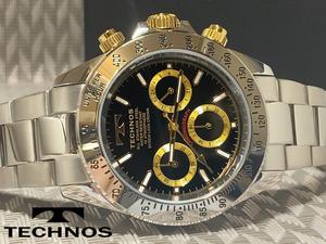 【1円】【新品正規品】[テクノス]TECHNOSクロノグラフ金ゴールド×シルバー銀メンズ男性用ダイバー腕時計ギフトうでどけいプレゼント
