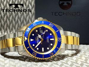 【1円】【新品正規】[テクノス]TECHNOSブルー青×ゴールド金コンビ10気圧防水ダイバーメンズ男性腕時計うでどけいプレゼントバレンタイン