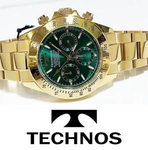 【1円新品正規品】[テクノス]TECHNOSクロノグラフ金メンズ男性用ダイバー腕時計ギフトとけいゴールド×グリーン100m防水ダイバー紳士ギフト