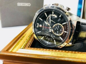 【即決】【高級セームプレゼント】【新品正規】SEIKOセイコーメンズ本格派タキメーターアンティークレザー黒クロノグラフダイバー腕時計