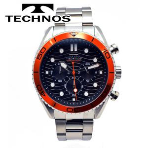 【送料無料 高級セーム付き】【新品正規品】TECHNOSテクノス希少モデルジャパンムーブメントアナログメンズ腕時計クロノグラフ24時間計