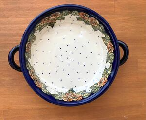 オレンジローズ 持ち手付きオーブン皿 グラタン皿 オーブンディッシュ ボウル ポーリッシュポタリー ポーランド陶器 ポーランド食器