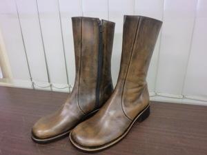 [送料無料] レディースブーツ ミドル丈 24cm 天然皮革 未使用