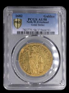 (мемориальная валюта) 1682 голландская Западная фрислет 1 Гильда золотая монета PCGSAU58 высшего сорта *
