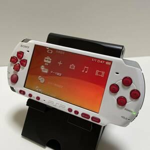 PSP 3000 カスタム 本体 ホワイトレッド
