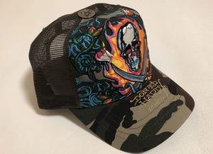 【新品未使用、正規品、本物】 Ed Hardy エド・ハーディー スカル 刺繍 キャップ 帽子 迷彩柄 カモフラージュ