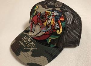 【新品未使用、正規品、本物】 Ed Hardy エド・ハーディー デビル 刺繍 キャップ 帽子 迷彩柄 カモフラージュ