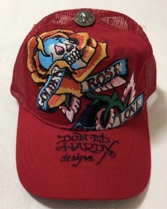 【新品未使用、正規品、本物】 Ed Hardy エド・ハーディー スカル ローズ 刺繍 キャップ 帽子 赤色