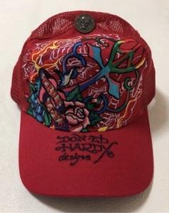 【新品未使用、正規品、本物】 Ed Hardy エド・ハーディー クロス ローズ 刺繍 キャップ 帽子 赤色