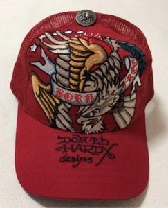 【新品未使用、正規品、本物】 Ed Hardy エド・ハーディー ワシ 刺繍 キャップ 帽子 赤色
