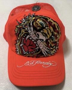 【新品未使用、正規品、本物】 Ed Hardy エド・ハーディー タイガー 刺繍 キャップ 帽子 ラインストーン トラ オレンジ色