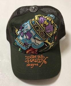 【新品未使用、正規品、本物】 Ed Hardy エド・ハーディー スカル 王冠 刺繍 キャップ 帽子 深緑色 モスグリーン