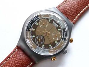 未使用電池交換済 スウォッチ Swatch 初期クロノ 黒/茶革ベルト ジェットラグ Jet Lag 品番:SCM102