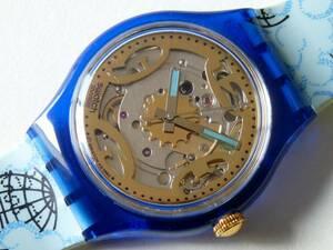 未使用 93年オートマチック 青/地球儀 SAN101 スウォッチ Swatch