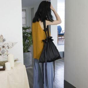 【ブラック】巾着 ショルダーバッグ サテン リボン トート シンプル かわいい 大容量 人気 オシャレ エコバッグ レディース