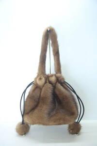 【Mink】リアルファーバッグ*パステルミンクキンチャク(ハンドメイド)巾着バッグ/メイドインジャパン/日本製/毛皮のバッグ/現品のみ