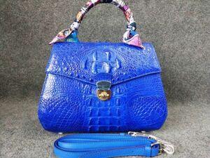 クロコダイル ワニ革 レア ハンドバッグ かばん 鞄 レディース鞄 手提げ 職人手作 バッグ 2WAYバッグ センター取り ブルー