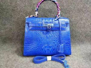 クロコダイル ワニ革 ! ハンドバッグ トートバッグ かばん 鞄 レディース鞄 シルバー金具 手提げ 職人手作 バッグ ブルー