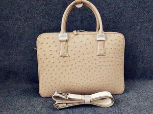 オーストリッチ ダチョウ革 フルポイント ビジネスバッグ メンズ鞄 メンズバッグ ブリーフバッグ 職人手作 ベージュ