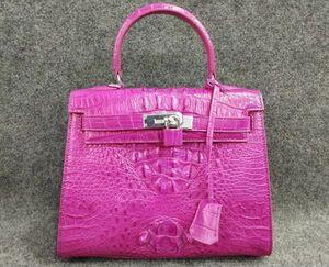 クロコダイル ワニ革! ハンドバッグ トートバッグ かばん 鞄 レディース鞄 シルバー金具 手提げ 職人手作 バッグ ピンク