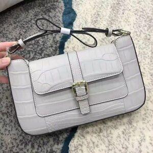 ワニ革 クロコダイル 本革保証 レディースバッグ ハンドバッグ フォーマルバッグ ワンショルダー ウォレットバッグ レザー ライトグレー
