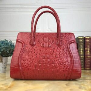 ワニ革 クロコダイルレザー 金運UP 本革保証 多機能 レディースバッグ ビジネスバッグ 本革 鞄 トートバッグ ワイン 職人手作り