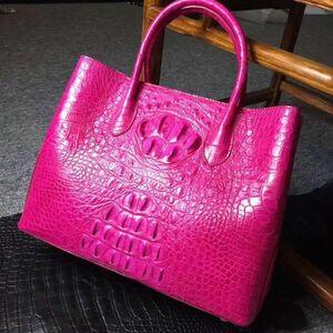 ワニ革 クロコダイルレザー 希少色 最高級本革保証 多機能 ビジネスバッグ 本革 鞄 レディースバッグ トートバッグ ピンク