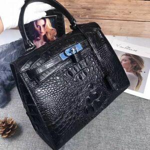クロコダイル ワニ革! ハンドバッグ トートバッグ かばん 鞄 レディース鞄 シルバー金具 手提げ 職人手作 バッグ ブラック