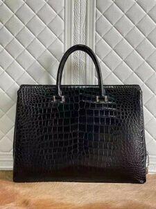ダイヤルロック式 ワニ革 クロコダイルレザー ビジネスバッグ 鑑定大歓迎 お洒落 紳士用 鞄 メンズバッグ ブリーフバッグ 書類かばん