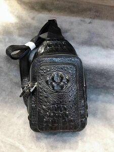 ワニ革 クロコダイルレザー 金運上昇 本革 メンズバッグ 鞄 斜め掛け ボディバッグ 職人手作 ブラック 本物 黒 鑑定大歓迎