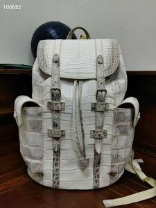 貴重品 ワニ本革 クロコダイル 鑑定大歓迎 センター取り 逸品 メンズ リュック バックパック鞄 バッグ アウトドア ヒマラヤホワイト