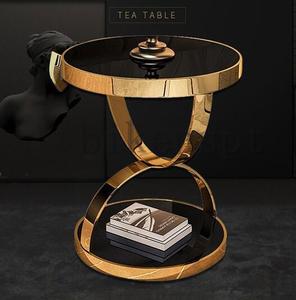 極美品★高品質★ソファサイドシェルフ ベッドサイドシェルフ リビング*寝室用テーブル 北欧風コーヒーテーブル 丸型テーブル