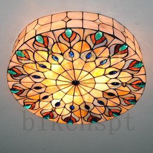特価★人気推薦★高品質 ステンドグラス ペンダントライト 豪華天井照明ステンドグラスランプ ガラス貝工芸品
