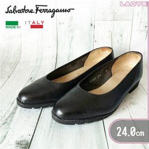 Salvatore Ferragamo 24cm 6.5 レザー フラット パンプス 黒 バレエ シューズ スリッポン 革 靴 ラバーソール サルヴァトーレ フェラガモ