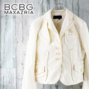 BCBGMAXAZRIA ベロア テーラード ジャケット 白 オフホワイト 秋冬 カジュアル ストレッチ 無地 ビーシービージーマックスアズリア S M 9号