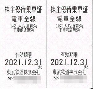 東武鉄道 株主優待 株主優待乗車証(2枚) 期限:2021.12.31  株主優待券/列車/乗車券/電車/切符