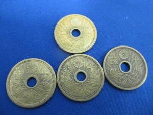 古銭近代コイン 大日本 昭和13年 14年 10銭アルミ青銅貨 まとめて4枚 未鑑定/未保証品