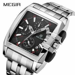 最安 新品 Megir メンズ 高級腕時計 ビジネス ステンレス鋼 クォーツ腕時計 男性 レロジオ メンズウォッチ masculino ケース付 1310