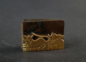 金着せ 金被せ 日本刀 ハバキ 時代物 刀装具 日本刀 竹虎図