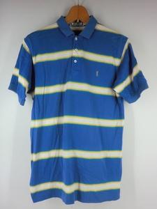 A1599 YSL YVES SAINT LAURENT イブサンローラン ポロシャツ サイズM 半袖 青 ボーダー 中古