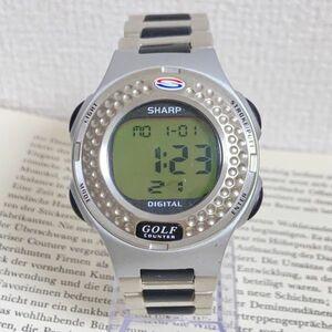★ SHARP デジタル 多機能 メンズ 腕時計 ★ シャープ アラーム クロノ シルバー 稼動品 F5602
